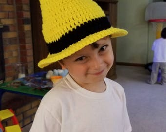 Man with the Yellow Hat Inspired Hat, Crochet Baby Cap, Halloween Costume, MADE TO ORDER by Charlene, Yellow Witches Hat, Gift for Baby