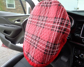 Red Plaid Quilted Steering Wheel Cover, Gift for Mom, Present for Grad, Steering Wheel Protector, Crochet Edging, Removable