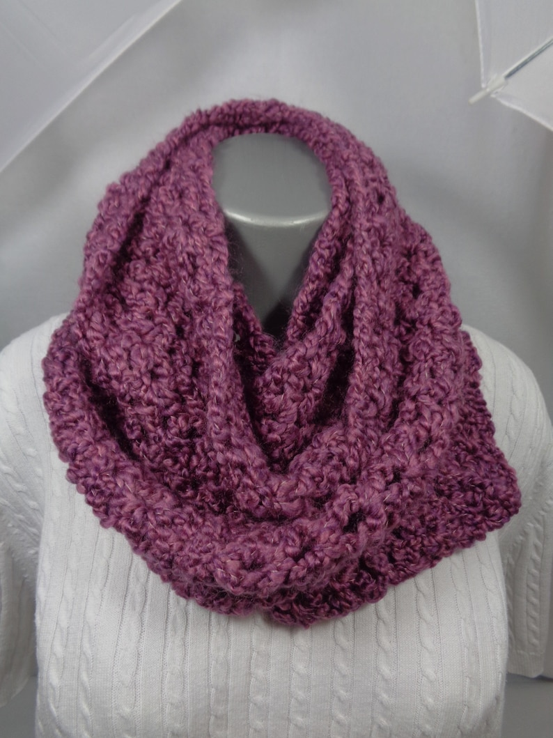 Mauve Crochet Infinity Scarf Winter Wear Soft Neckwarmer image 0