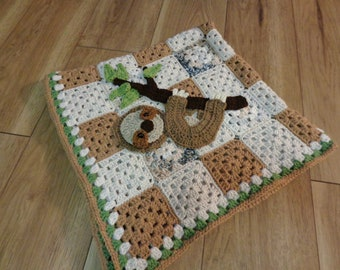 Sloth Baby Afghan, Tans, Cream and Green Baby Blanket, Shower Gift for New Mom, Crochet for Sloth Lover's Little Ones, New Baby Gift
