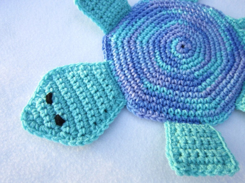 Turtle Pot Holder Crochet Hot Pad in Blues Table Trivet image 0