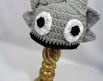 Gray Horned Frog Baby Hat, Horned Lizard Hat, Crochet Beanie with Horns MADE TO ORDER by Charlene, Gift for Baby, Photo Prop for Newborn