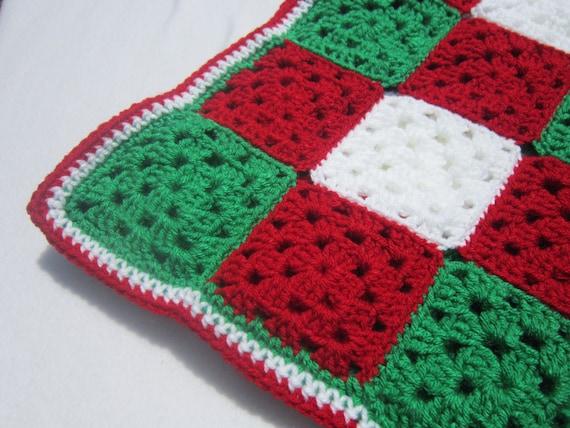 Crochet Christmas Baby Afghan Granny Square Blanket Red Etsy