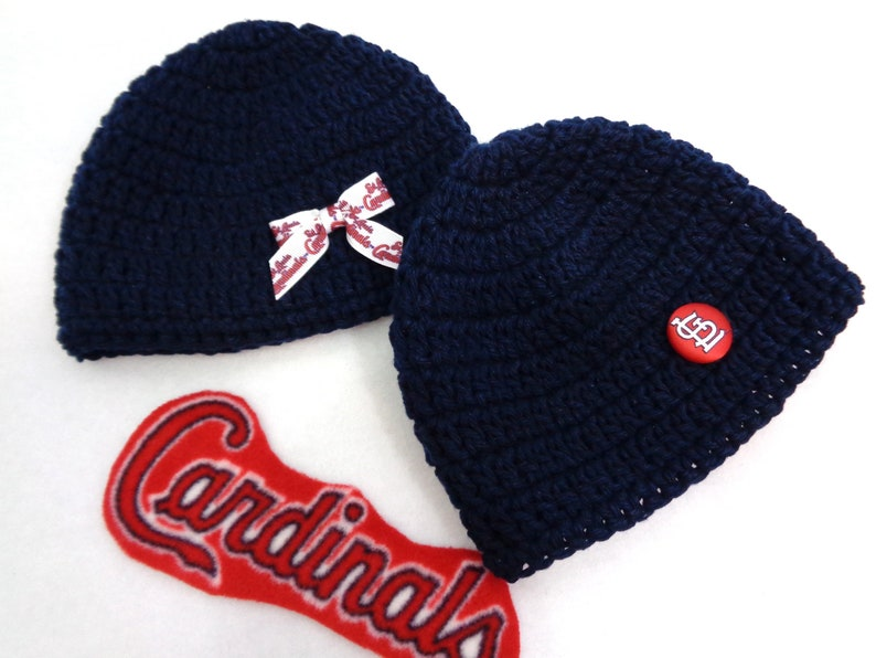Navy Hat with St. Louis Cardinals Button or Ribbon MADE TO image 0