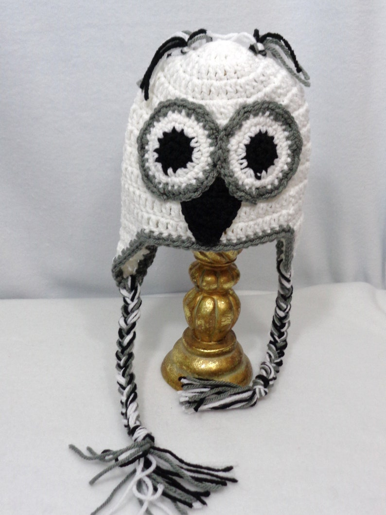 White Owl Hat White Cap with Braids MADE TO ORDER Winter image 0