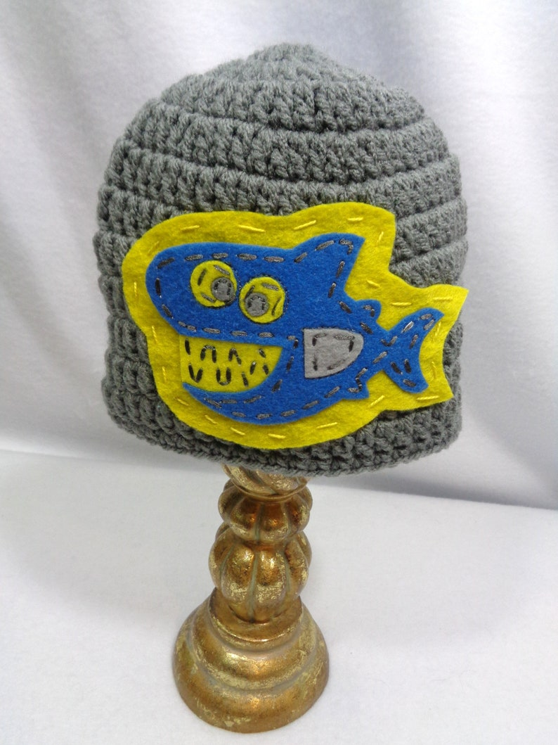 Gray Shark Hat 6 to 12 Month Cap for Baby Ocean Animal image 0