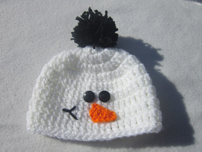 Snowman Baby Cap White with Pom Pom Hat Snowman Hat MADE TO image 0