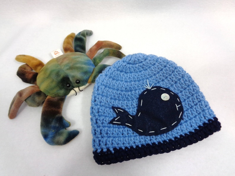Baby Whale Hat Crochet Ocean Whale Cap MADE TO ORDER  Baby image 0