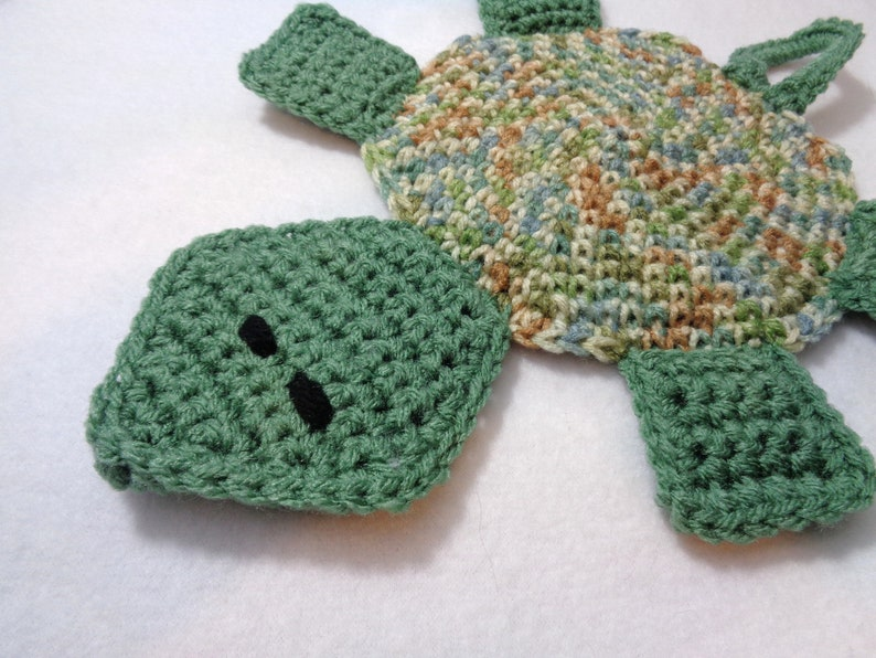 Turtle Pot Holder Green and Tan Kitchen Decor Gift for image 0
