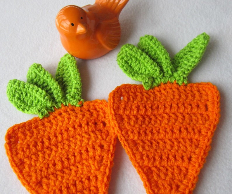 Two Orange Carrot Hot Pads Carrot Pot Holders Crochet Carrot image 0