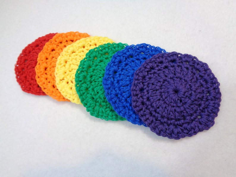 Rainbow Cotton Facial Cloths Cotton Coasters Baby image 0