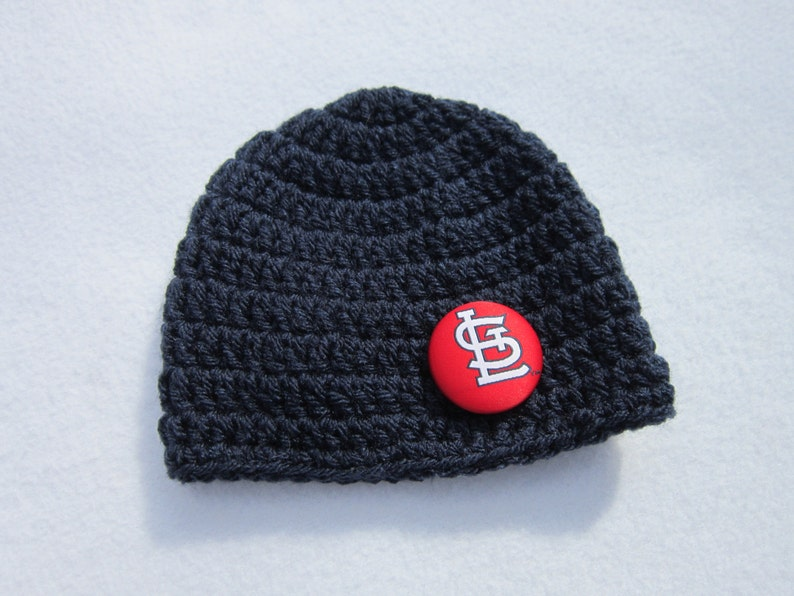 Navy Hat with St. Louis Cardinals Button MADE TO ORDER by image 0