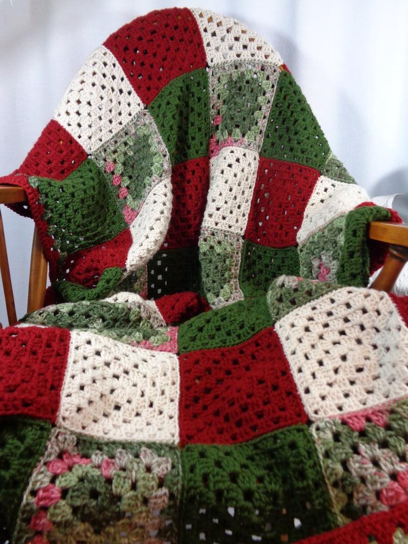 Granny Square Christmas Blanket Christmas Afghan Dark Red image 0