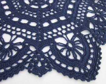 Dark Blue Doily Extra Large Crochet Table Decor, Gift for Grandma, Farmhouse Decor, Coffee Table Cover, Dining Table Decor