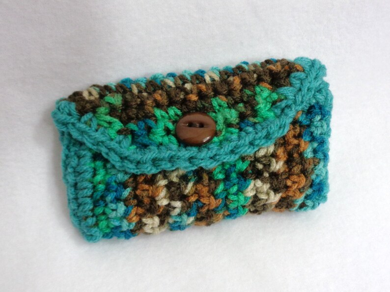 Purse Pouch Business Card Holder Turquoise and Brown Small image 0