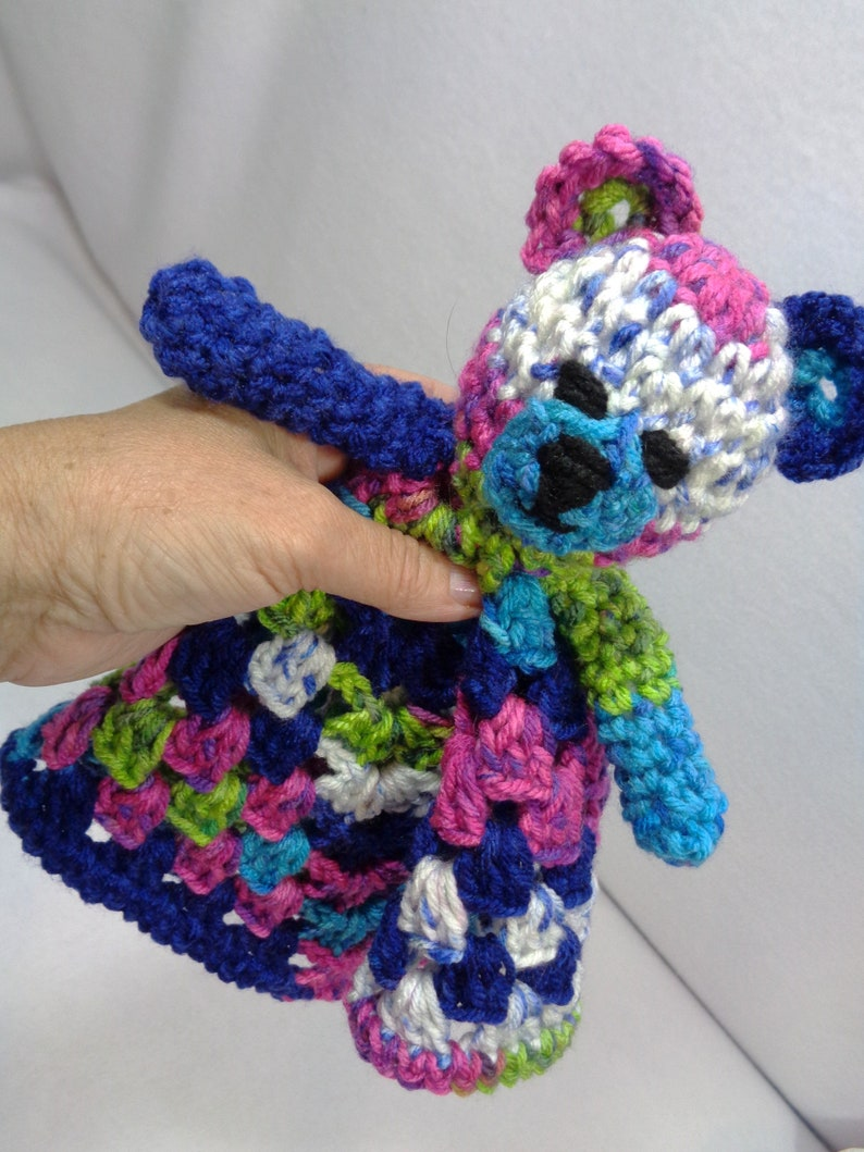 Colorful Teddy Bear Lovey Baby Shower Gift for Boy or Girl image 0