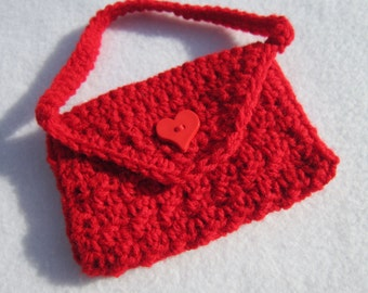 Crochet Purse for Little Girl, Christmas Bag, Valentine's Day Purse for Girl, Little Red Purse, Photo Prop, MADE TO ORDER