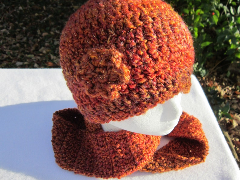 Crocheted Rust Hat and Infinity Scarf Shades of Rust Colored image 0