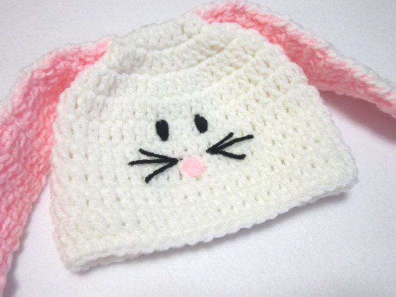White Bunny Baby Cap MADE TO ORDER Baby Bunny Beanie Hat image 0