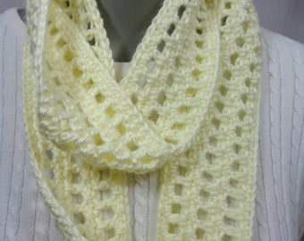 Pale Yellow Scarf, Thin Cream Infinity Scarf, Lightweight Indoor or Outdoor Spring Neckwear with Soft Yarn, Gift for Mom, Spring Accessory