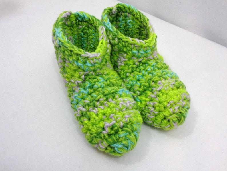 Green Slippers Crochet Size Medium Womens Houseshoes Gift image 0