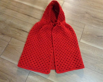 Little Red Riding Hood Crocheted Cape, Crochet Shawl, Halloween Costume, Christmas Cape for Girl, Ready To Ship, Size 3 to 5 Toddler