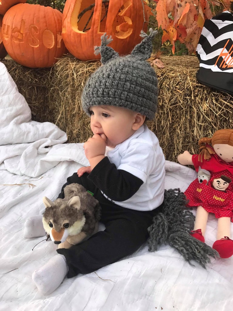 fd04c73f23a Grey Wolf Cap Gray Baby Hat with Pointy Ears Crochet Baby