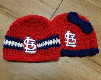 St. Louis STL Caps,  Made To Order by Charlene, St. Louis Cardinals Inspired, Newborn Photo Prop, Gift for New Baby, Cardinals Fans