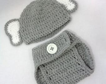 Gray Elephant Cap with Diaper Cover, Elephant Hat, Halloween Costume Hat, MADE TO ORDER by Charlene, Newborn Photo Prop, Easter Set