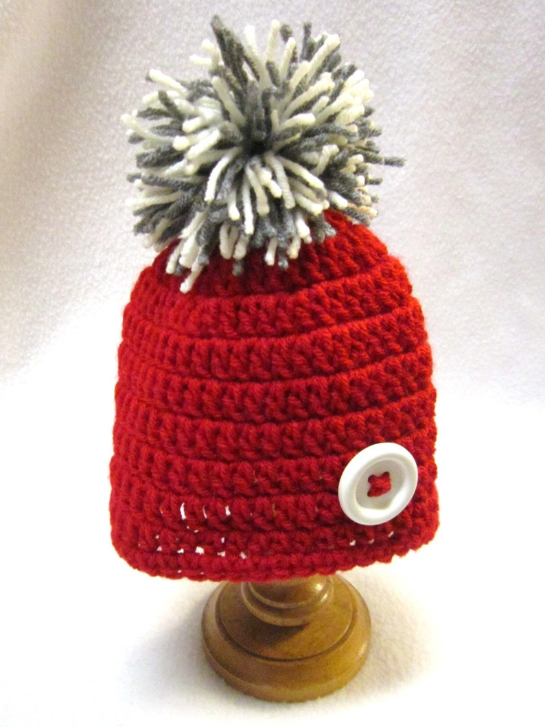 Red Beanie Cap with Cream and Gray Pom Pom and White Button image 0