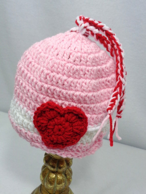 Pink Valentine s Day Hat with Heart Baby Girl Cap  a3a1be9f1c2d