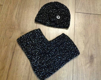 Black with Silver Crochet Poncho with Matching Hat, 2 to 4 Months, Baby Fashion, READY TO SHIP, Crochet Baby Poncho