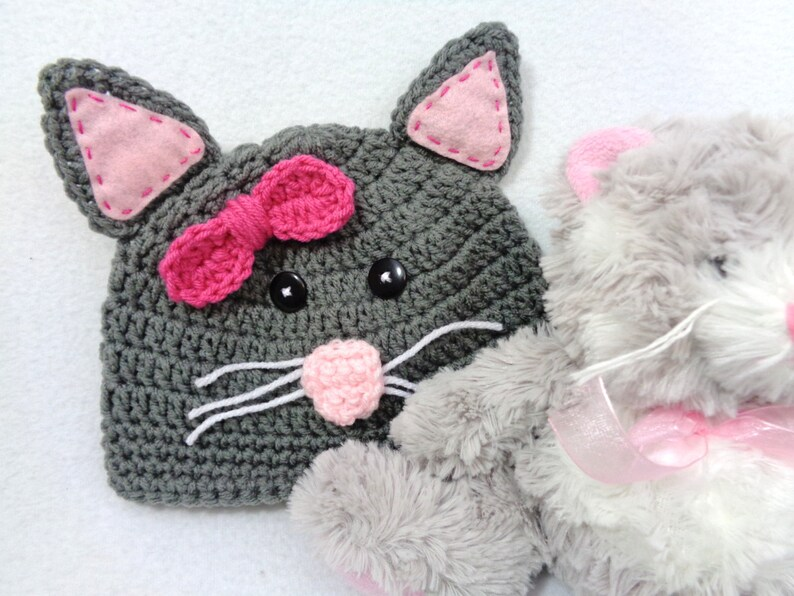 Gray Kitty Cat Baby Hat Crochet Feline Cap MADE TO ORDER by image 0