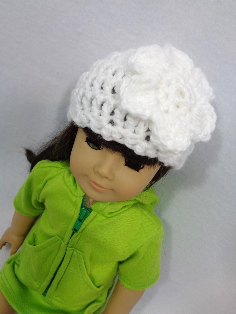 18 Inch Doll Hat White Crochet Beanie for American Girl image 0