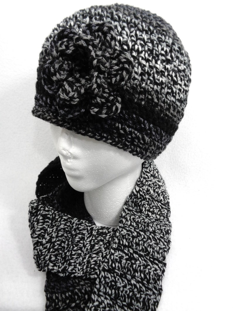 Shades of Gray and Black Scarf and Hat Crochet Cap and image 0