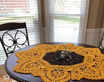 Sunflower Doily Extra Large Crochet Table Decor, Gift for Grandma, Farmhouse Decor, Coffee Table Cover, Dining Table Decor