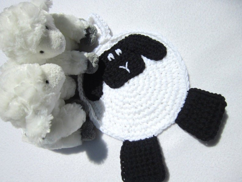 Crochet Sheep Pot Holder White with Black Face and Feet image 0