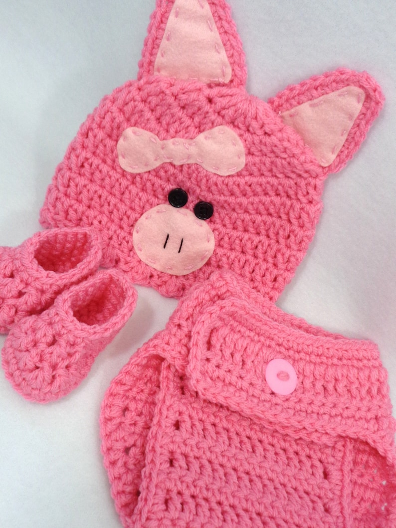 Little Pink Pig Cap with Diaper Cover and Booties Piggy Baby image 0