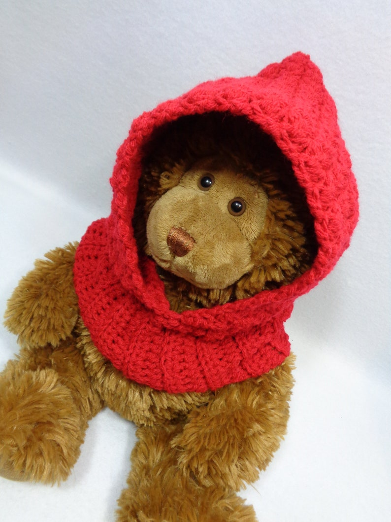 Red Hooded Cowl Crochet Baby Cowl Winter Hood for Baby MADE image 0