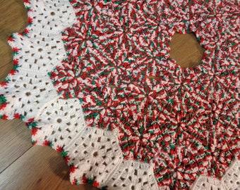 Red, Green and White Christmas Tree Skirt Crochet Granny Hexagons, Bridal Shower Gift, Old Fashion Handmade Tree Blanket, READY to SHIP