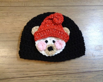 Christmas Bear Hat, Crochet Baby Bear Cap, MADE TO ORDER by Charlene, Photo Prop, Twins or Triplets, Newborn Photo Prop