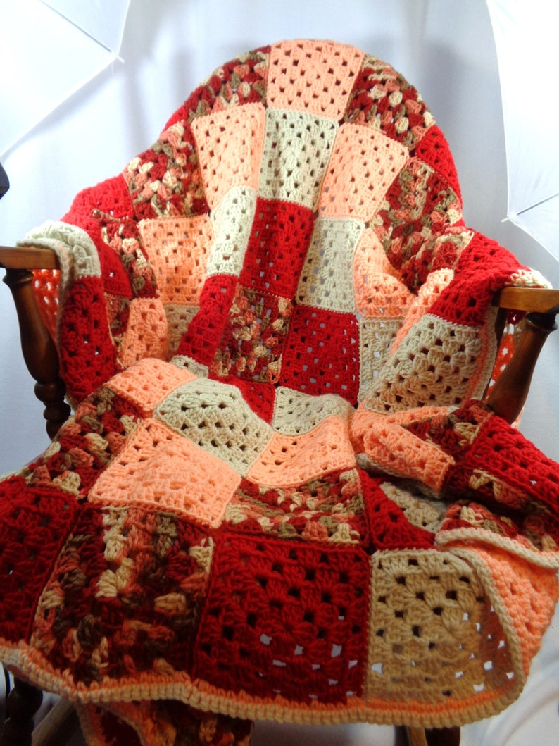 Crochet Granny Square Afghan Red Peach and Tan Crocheted image 0