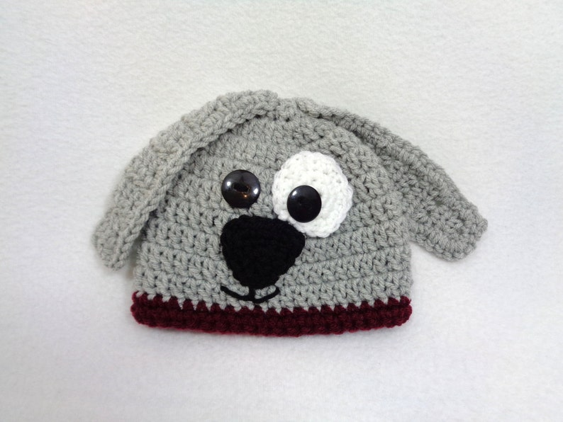 Gray Puppy Dog Baby Hat Crochet Dog Cap MADE TO ORDER by image 0