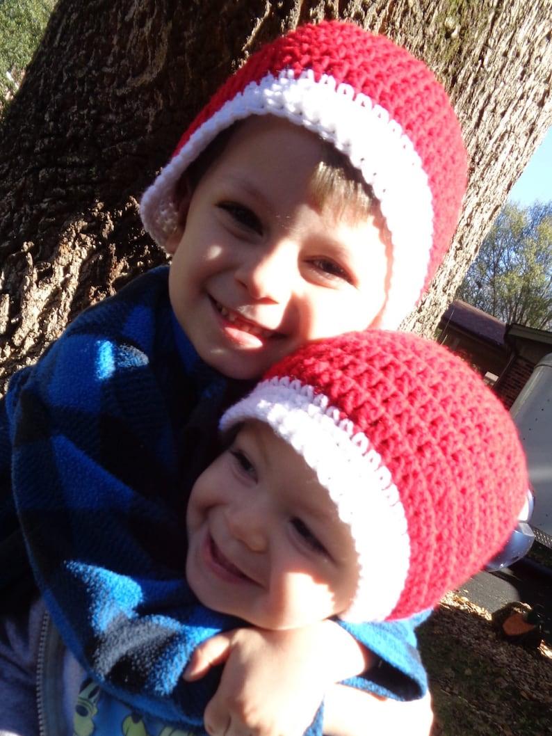 Simple Santa Hat Girl or Boy Crochet Christmas Cap Photo image 0