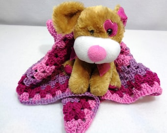 Puppy with Crochet Blanket, Valentine's Day Present for Little Girl. Doll Afghan with Brown Dog with Pink Features, Crochet Granny Square