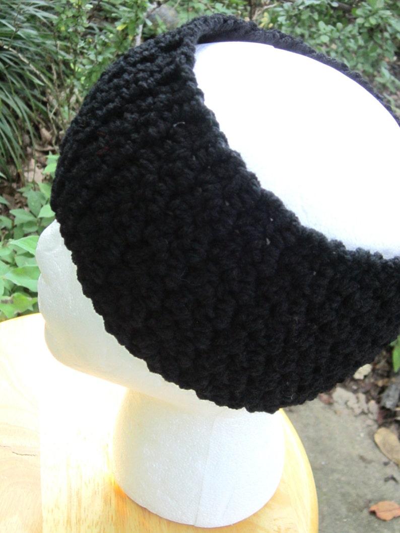 Black Crochet Headwarmer Textured Crocheted Black Earwarmer image 0