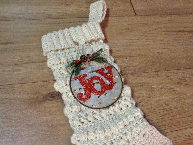 Large Crochet Christmas Stocking Christmas Decor Teacher image 0
