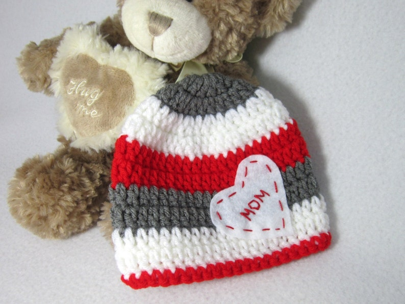 Valentine's Day Hat  Crochet Red Gray and White Baby Cap image 0