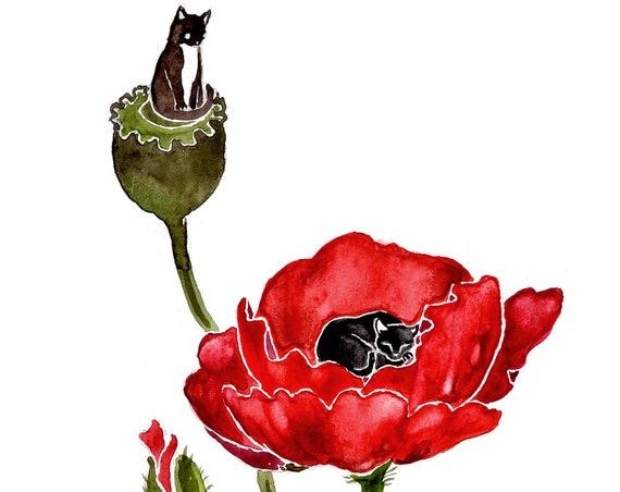 Poppy Seeds - PRINT of original art.  Whitetail deer, greyhounds, birch trees