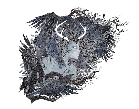 Hannya- giclee PRINT of original watercolor painting